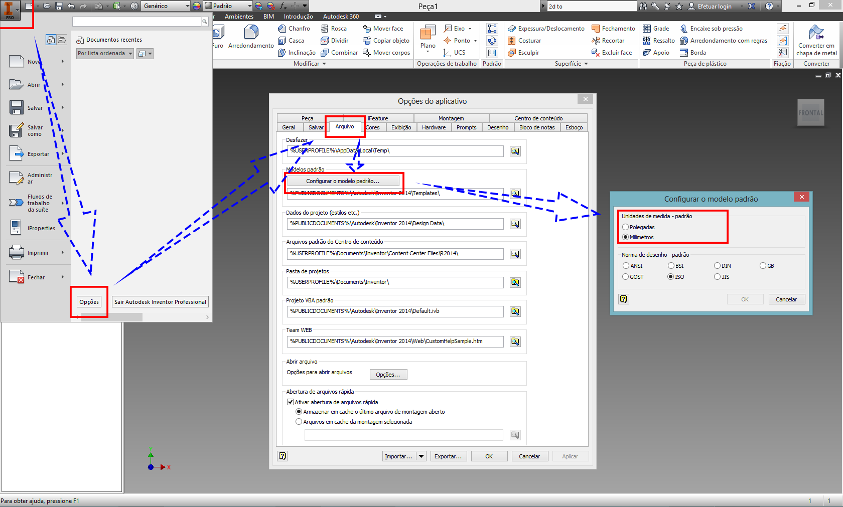 how to change to mm in inventor